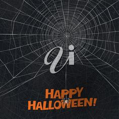 Halloween holiday card design. Spider says Happy Halloween. Spider web vector background. Halloween Clipart, Happy Halloween, Vector Background, Holiday Cards, Clip Art, Sayings, Design, Quotes