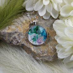 Necklace. Pendant, Ink Art Aqua Storm Giftboxed - Free UK P&P £11.80