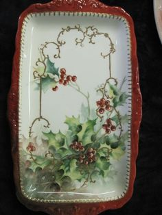 Christmas Tray, beautiful handpainted holly!