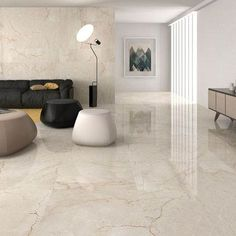 Classic cream gloss floor tiles have a lovely marble effect finish and to capture the natural beauty of marble there is high variation between the tiles. This large porcelain tile flooring is perfect for contemporary or traditional environments and with a Large Floor Tiles, Ceramic Floor Tiles, Porcelain Tiles, Modern Floor Tiles, Marble Tiles, Modern Flooring, Cream Tile Floor, Ceramic Flooring, White Flooring