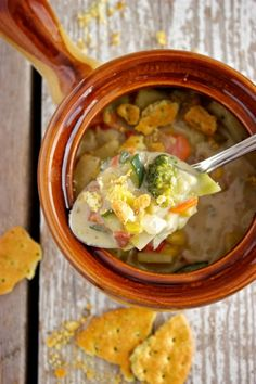 Vegetable Chowder...minus the bacon and substitute chicken broth with vegetable broth