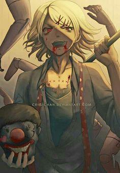 Suzuya Juuzou, clown, head, arms, hands, puppet, blood; Tokyo Ghoul