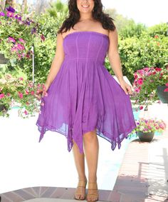 Look at this Ananda's Collection Purple Shirred Handkerchief Dress - Plus on #zulily today!