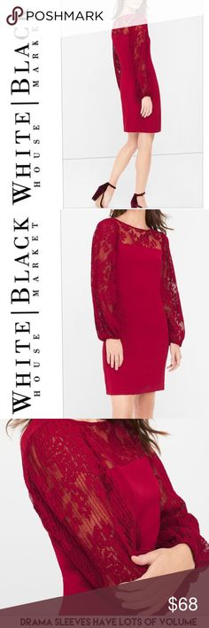 """WHBM red drama sleeve shift dress 🌹 Gorgeous red shift with exaggerated pleated lace sleeves. So fun! Has a mod, '60s feel to it. The color is called """"luscious"""" and is so gorgeous for the holidays! A beautiful red. The sleeves are very full. Fully body lined with satin fabric. Measures about 38"""" chest, 34"""" waist, and 34"""" length. Size 4. New with tag. Non smoking home. White House Black Market Dresses Mini"""