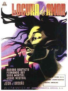 """MP604. """"Locura de Amor"""" Mexican Movie Poster by Josep Renau (Juan de Orduña 1950) / #Movieposter"""