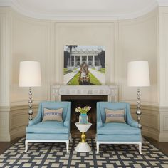 Jonathan Adler - Chippendale Lounge Chairs. Love the lines & the color!