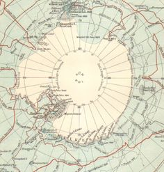 1894 Map of the Antarctica and the South Pole showing the South Polar Expedition of Captain Cook and J. Ross.