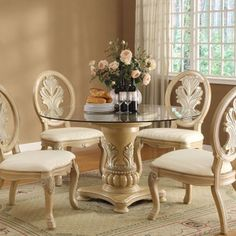 Coronado Single Pedestal Antique White Round Dining Table Gl Top Room Sets