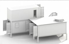 Whitemodel of a 3D drafting of a house built from shipping containers.