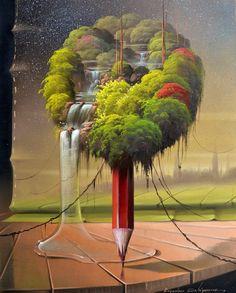 The beautiful surreal paintings by Evandro Schiavone Illusion Kunst, Illusion Art, Fantasy Kunst, Fantasy Art, Surreal Artwork, Image Nature, Surrealism Painting, Art Plastique, Amazing Art