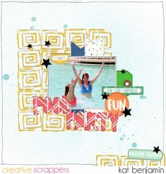 "Pool Party by Kat Benjamin uses the ""Quirky Quads"" and ""Make a Splash"" cut file from The Cut Shoppe."