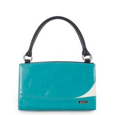 "Unique patent turquoise faux leather makes the Ashton a delightful addition to your Miche Classic Shell collection.  Note the stylish ""white wave"" accent."