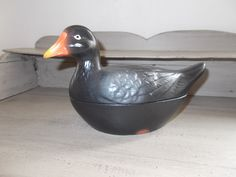 Authentic Vintage Very Rare Moorhen, hand painted Pate Dish Tureen Michel Caugant signed classic French. by MaisonbrocanteFrance on Etsy