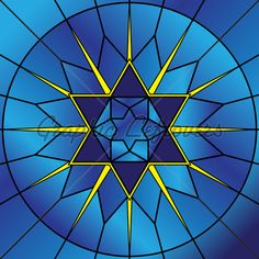 Illustration Of Stained Glass Star Of David.