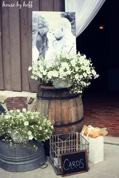 country rustic photo display wedding ideas with wine barrels