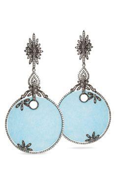 Blue Satin Earrings by Bochic for Preorder on Moda Operandi