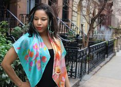 "100% silk scarf turquoise pink orange square ""A new day"""