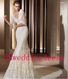 2014 White Ivory Long Sleeve Wedding Dress Lace Wedding Dress Bridal Gown Mermaid Wedding Dress Floor-Length Size 6 8 10 12 14 16 Custom