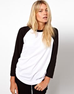 Top by ASOS Collection - Made from 100% pure cotton - Soft-touch jersey fabric - Crew neckline - Contrast raglan sleeves - Regular fit