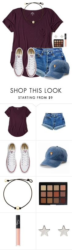 featuring Hollister Co., Converse, SO, Morphe, NARS Cosmetics and Jennifer Meyer Jewelry Cute Summer Outfits, Fall Outfits, Casual Outfits, Cute Outfits, Halloween Outfits, How To Wear Converse, Outfits With Converse, Shortinho Saint Tropez, Polyvore Outfits