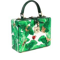 Dolce & Gabbana Leather Banana Leaf/Bugs Box Bag (16.630 RON) ❤ liked on Polyvore featuring bags, handbags, shoulder bags, green shoulder bag, genuine leather purse, studded shoulder bag, green leather shoulder bag and green purse