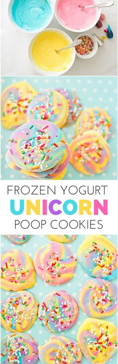 Unicorn Poop Frozen Yogurt Bark Cookies. Make this magical treat healthier with yogurt! Easy, healthy and colorful kid snack.