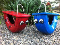 Reifenrecycling 10 erstaunliche DIY-Reifenprojekte projects for kids Diy Outdoor Toys, Kids Outdoor Play, Kids Play Area, Backyard For Kids, Garden Kids, Diy Garden Toys, Garden Playhouse, Kids Yard, Garden Projects