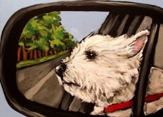 """West Highland Terrier ACEO Westie Print Painting """"Road Trip"""" Dog Art Randall 