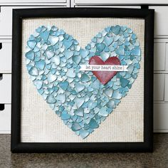 "#DIY #Crafts | ""What a cheap, easy thing to do!  Do it in any shape--circles of two or three different sizes and colors to make the shape of a circle, birds (all one-color, then just one in a contrast color) in the shape of a bird--even give the bird a heart in the contrast color.  Could also use pieces of the same picture photocopied so that it'd make a clever picture mosaic of the pic...ideas are endless!"""