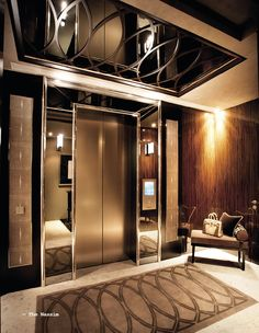 I'm pinning this because i really like this design and i can also use this when i build the elevators iniside my community center Foyer Design, Ceiling Design, House Design, Luxury Interior, Interior Architecture, Elevator Design, Halls, Lift Design, Hotel Corridor