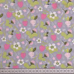 Bavlněný popelín s květy a jahodami  2b05d91efcd
