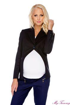 Granatowa marynarka ciążowa.