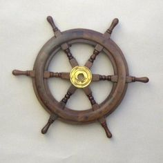Teak Ship's Steering Wheel Solid Brass Hub Nautical Pirate Wall Decor New Pirate Ship Wheel, Pirate Ships, Boat Wheel, Pirate Decor, Pirate Theme, Pirate Party, Wood Plugs, Thing 1, Into The Woods