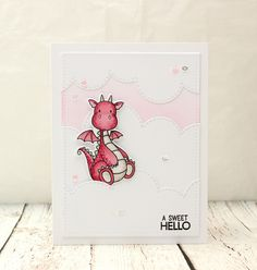 Pink Dragonkaart Hello Card Hello Card door ThePaperMenagerie