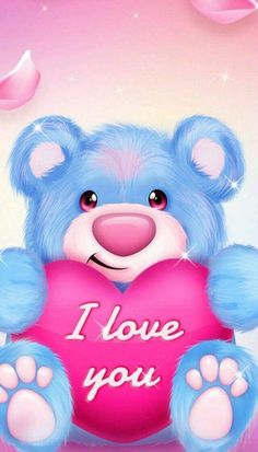 Love You Cute, I Love You Images, Love You Gif, Love Pictures, My Love, Teddy Bear Cartoon, Cute Teddy Bears, Mickey Mouse Wallpaper, Bear Wallpaper