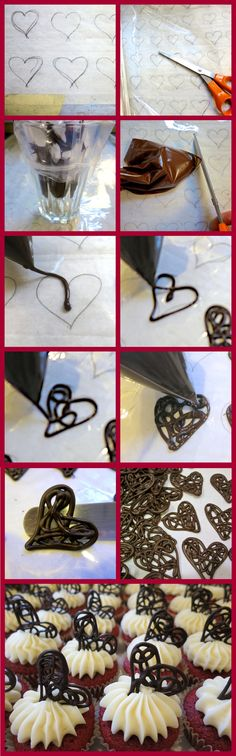 How to pipe chocolate filigree hearts.use technique to pipe anything chocolate Chocolate Garnishes, Chocolate Recipes, Cake Decorating Tips, Cookie Decorating, Cake Cookies, Cupcake Cakes, Chocolate Work, Chocolate Hearts, Cake Recipes