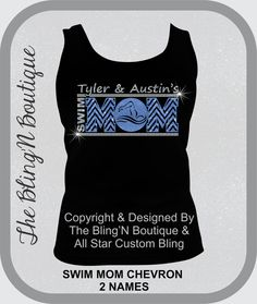 Swim Mom Chevron Glitter and Rhinestone Shirt by TheBlingNBoutique