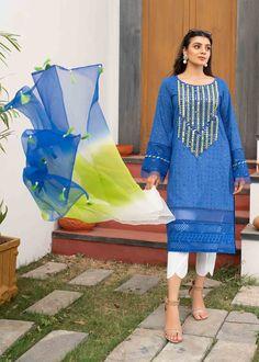 Eid Collection, Three Piece Suit, Abaya Fashion, All About Fashion, Neon Green, Anarkali, Kurti, Pakistani, Color Blue
