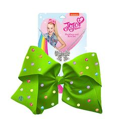 Buy JoJo Siwa Signature Multi Colored Rhinestone Bow And Necklace Set -Green - free click & collect at the Entertainer stores and free home delivery on orders over Jojo Siwa Hair, Jojo Siwa Bows, Jojo Hair Bows, Jojo Bows, Big Bows, Cute Bows, Jojo Siwa's Number, Jojo Siwa Outfits, Girls Nail Designs