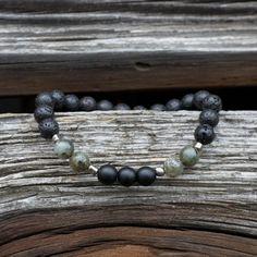 Men's beaded bracelet, Stretch gemstone men's jewelry, Black Lava, Matte Onyx, Labradorite Healing Stones