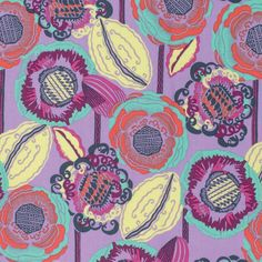 Purple Aqua Yellow and Red Floral Cotton by RaspberryCreekFabric