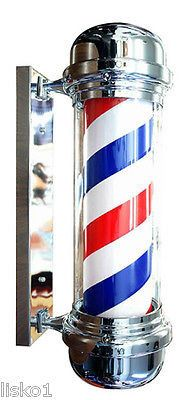 "28"" TRADITIONAL LIGHTED BARBER SHOP POLE, RUNS ON 110 VOLT (worldwide shipping)"