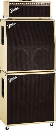 FenderSuper-Sonic 100 100W Tube Guitar Amp HeadBlonde Stack, Right-Facing great stack!