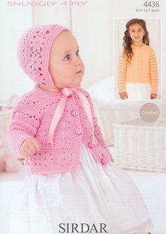 Sirdar Crochet Pattern 4436: Cardigan & Bonnet in Snuggly 4 Ply, McA direct