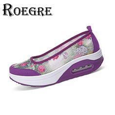 ROEGRE 2017 Spring Women Platform Shoes Women Breathable Mesh Casual Shoes Ladies Wedge Shoes Size 36-41 Grey Purple