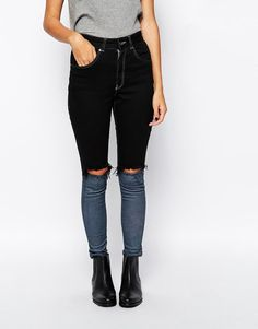 Shop The Ragged Priest Skinny Jeans With Contrast Ankle & Knee Rips at ASOS. Cut Out Jeans, Ragged Priest, Ripped Skinny Jeans, Fashion Online, Contrast, Asos, Black Jeans, My Style, Ankle