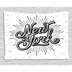 Vintage New York Typography Star Burst Calligraphy Hand Written Hipster Lettering Artwork Black White Dining Room Kitchen Rectangular Table Cover Home Decor Black And White Dining Room, Black White, Vintage New York, Typography, Lettering, Hand Written, French Country Decorating, Table Covers, Dorm Decorations