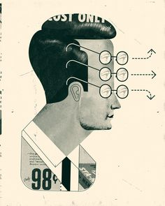 'Distracted' by artist & illustrator Curt Merlo. collage. via the illustrator's site