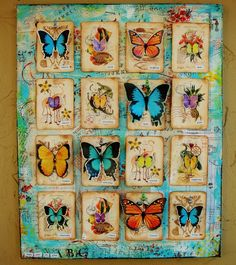my mixed media butterfly pin board - canvas, mixed media, wall art, details can be found on my blog at www.justaboutthedetails.com