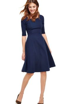For the classic woman in us all (and those get-togethers with the MIL), this navy ponte fiit-and-flare is a closet must-have.  Navy Ponte Fit & Flare, $103.60-188.40; Boden.    - Redbook.com